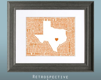 University of Texas at Austin Word Art Map 8x10 Printable