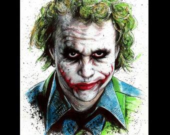 "Print 11x14"" - The Joker - Batman Dark Knight Heath Ledger Christian Bale Dark Art Super Villian Hero Lowbrow Pop Gotham City Crime Clown"