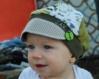 Toddler Jax Hat, camping hat, green stripe hat, recycled t shirt hat, upcycled hat, baby hat, camp hat, repurposed hat, Jax, eco friendly