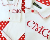 White trimmed red gingham - Monogrammed Christmas Lounge Wear - Shipping NOW!  12m - 12y