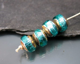 Made to Order Handmade Lampwork Nugget Beads by GlassBeadArt … Teal Sparkling Rocks ... SRA F12 ... 10x12mm