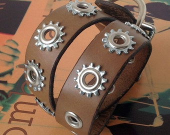 Brown Leather Dog Collar with Industrial Stars, Size S/M, to fit a 12-16in Neck, Eco-Friendly, Pet Accessories, OOAK
