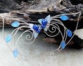ON SALE Sapphire Blue Elf Ear Cuff Wrap Pair or Single, Something Blue, Bridal Ear Cuff