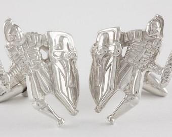 Knight Cufflinks, Sterling Silver, personalized