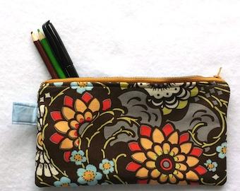 designer mocha floral zipper pouch, coin purse, cosmetics makeup travel bag