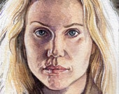 Original Watercolor Painting Portrait Art Saga Noren The Bridge Sofia Helin 4 x 6 inches