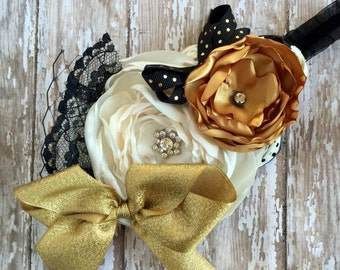 Vintage Gold Inspired Flower Headband, Burnt Edge Layered Flowers, Little Girl Headbands, Over The Top Headbands, Photo Prop, Black, Ivory