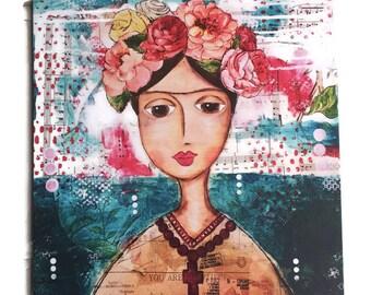 "Frida Kahlo, Canvas Print , Art Print, Mixed Media Artist, Art Canvas, Australian Artist 16x16"" Gallery Wrapped, Frida"