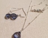 Gemdrop Jewelry Set of Earrings and Necklace, Sterling Silver and Gemstone