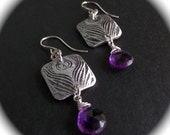 Peacock Earrings with Amethyst Drops Pure Aluminum Charms - .925 Sterling Earwires, Wraps and Jump Rings