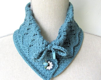 Women Wool Lace Knit Collar Scarf  - Victoria Collar Scarf - Teal - Size Med/Lrg