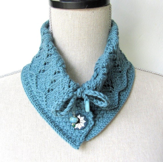 Knitting Pattern Lace Collar : Women Wool Lace Knit Collar Scarf Victoria Collar Scarf