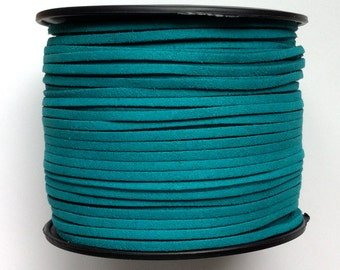 3mm Faux Suede Leather Cord (C96) Deep Turquoise Blue 15 feet - 5 Yards for Crafts Jewelry Bracelets Necklace Stringing Shipping from USA