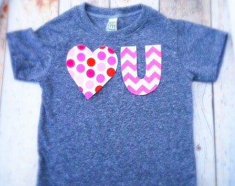 Valentine's Day Heart U - love you T Shirt Applique- Kids Boys Girls Matching Twins Big Bro Lil Sis pink red dots chevron children baby 1st