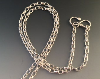 "22 Inch Sterling Silver 3.2mm Oval Rolo Chain with Handmade ""S"" Hook Closure"