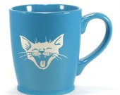 Laughing Cat Mug - Sky Blue - large smiling kitty coffee cup