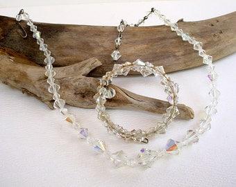 1 Strand Crystal Beaded Aurora Borealis Choker Adjustable Necklace + Free Crystal Wrap Around Bracelet