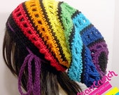 Sale 40% Off Slouchy Dread Tam Snood Crochet Hat in Chakra Rainbow Stripes