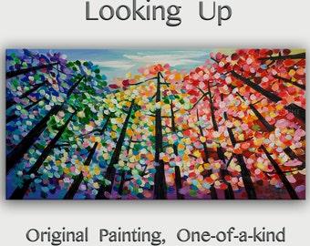 "Fine art,  48"" art,  Modern art,  Acrylic Art, tree art, Colorful art, canvas art,  Wall art, Abstract landscape painting Looking Up Skyline"
