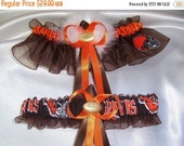 SALE 10% OFF CLEVELAND Browns Inspired Wedding Garter Set with Marabou Pouf