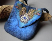 Blue Felted Bag with Lace and Beaded Flowers