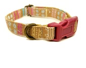 Dixie Chick - Organic Cotton CAT Collar Breakaway Safety Striped Feminine - All Antique Brass Hardware