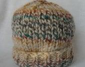 Slouchy Knit Hat Striped Blue Gold Teal Orange