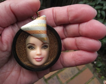 Upcycled Barbie Doll Face Pendant - Babs