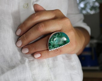Chrysocolla -Sterling silver ring-Artisan Made Ring, half moon gemstone ring, one of a kind ring