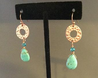 Howlite & Copper Teardrop Earrings