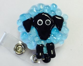 Fused Glass Sheep Badge Holder in Turqoise Blue