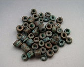 BIG SALE Mykonos Greek Ceramic Beads 3mm Green Copper Patina TINY Tubes Heishi Spacers Naos