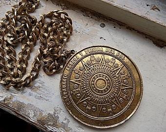 FREE SHIPPING Large Aztec Calendar Medallion Pendant Chain Necklace