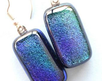 Blue Green Glass Earrings - Dichroic Glass Earrings - Dangle Earrings - Surgical Steel Ear Wires - Fused Glass Earrings