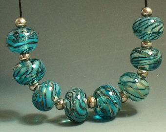 Lampwork Glass Beads SRA Catalinaglass  Hawaiian Rainbows