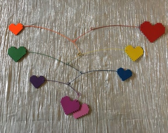 Rainbow pixel heart attack - laser cut rainbow heart mobile