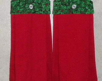 SET of 2 - Hanging Cloth Top Kitchen Hand Towels - CHRISTMAS Holly Print, Larger RED Towels