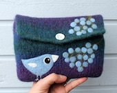 Felted bag pouch purse bag hand knit needle felted blue violet wool light blue bird birdie berries