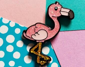 GLITTERY Flamingo pin