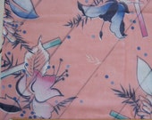 "unique 1970s/80s vintage floral fabric -- pink woven cotton voile, semi-sheer -- flowers, rods, pastels -- 44"" x 2.5 + yards"