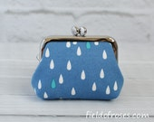 Small Frame Coin Purse Modern Raindrop Blue Rosary Case Earbud Case Earbud Holder Clasp Change Purse