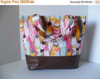 SALE Extra Large Tote Diaper Bag - Diaper Bag - Feathers Bag - Laptop Bag - Fringe in Pink Diaper Bag -  Beach Bag - Washable - Vegan Leathe