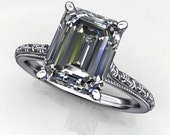 perla ring - 2.5 carat emerald cut NEO moissanite engagement ring, conflict free