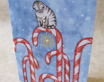 5 x 7 Notecard - A036 CANDY CANE CAT // holiday card / christmas card / winter card / cat lover / snow / seasonal / watercolor / red / blue