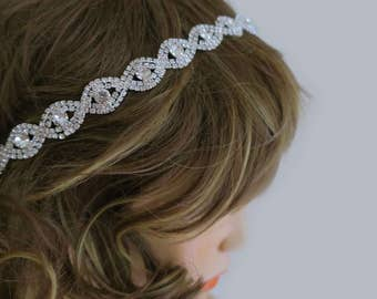 Bridal Rhinestone Headband, Crystal Headband with Ribbon Wedding Hair Accessories, Wedding Rhinestone Headband,  Bridal Accessories