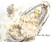 Lady in Wating Statement Necklace Girly Flowery Rhinestones & Crystal Pendant Lorelie Kay Original