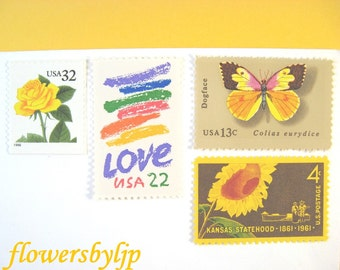 Rustic Golden Yellow Postage Stamps, Rainbow Love - Sunflower - Yellow Rose - Butterfly Stamps, Mail 20 Garden Wedding Invitations 2 oz 70c