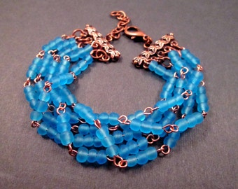 Multi Strand Bracelet, Blue Glass Beaded, Copper Cuff Bracelet, FREE Shipping U.S.