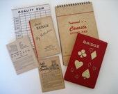Lot vintage playing card game ephemera bridge canasta score pads rule book paper
