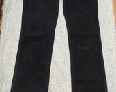 SALE Vintage Black Buttery Soft Suede Leather High Waist Pants 6
